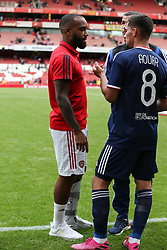 Alexandre Lacazette of Arsenal ended the game with a protective boot - Mandatory by-line: Arron Gent/JMP - 28/07/2019 - FOOTBALL - Emirates Stadium - London, England - Arsenal v Olympique Lyonnais - Emirates Cup
