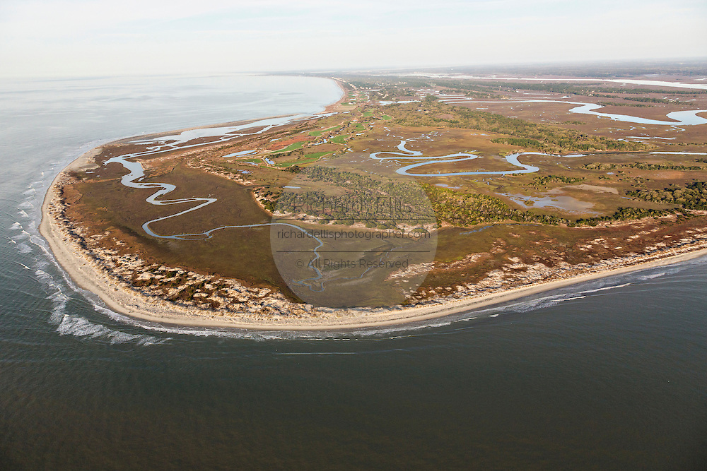 Aerial view of Sandy Point and the Ocean Course at Stono Inlet in Kiawah Island, SC.