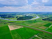 Nederland, Gelderland, Gemeente Heerde, 21–06-2020; Brug en inlaatwerk hoogwatergeul Veessen - Wapenveld. In het kader van het Programma Ruimte voor de Rivier is de rivierdijk verlaagd en is er een inlaat gemaakt. Het inlaatwerk heeft doorstroomopening bij extreem hoogwater kan de rivier door de hoogwatergeul stromen. Deze geul bestaat uit twee paralel lopende dijken.<br /> Rural area, west of IJssel, flood gully Veessen-Wapenveld, inlet of the flood channel. The channel has not been excavated but instead two parallel dikes are constructed.<br /> luchtfoto (toeslag op standaard tarieven);<br /> aerial photo (additional fee required)<br /> copyright © 2020 foto/photo Siebe Swart