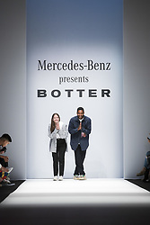 July 3, 2018 - Berlin, Germany - Dutch designers Rushemy Botter and Lisi Herrebrugh acknowledge the applause of the guests at the end of the Botter Fashion Show during the MBFW Spring Summer 2019 at ewerk in Berlin, Germany on July 3, 2018. (Credit Image: © Emmanuele Contini/NurPhoto via ZUMA Press)