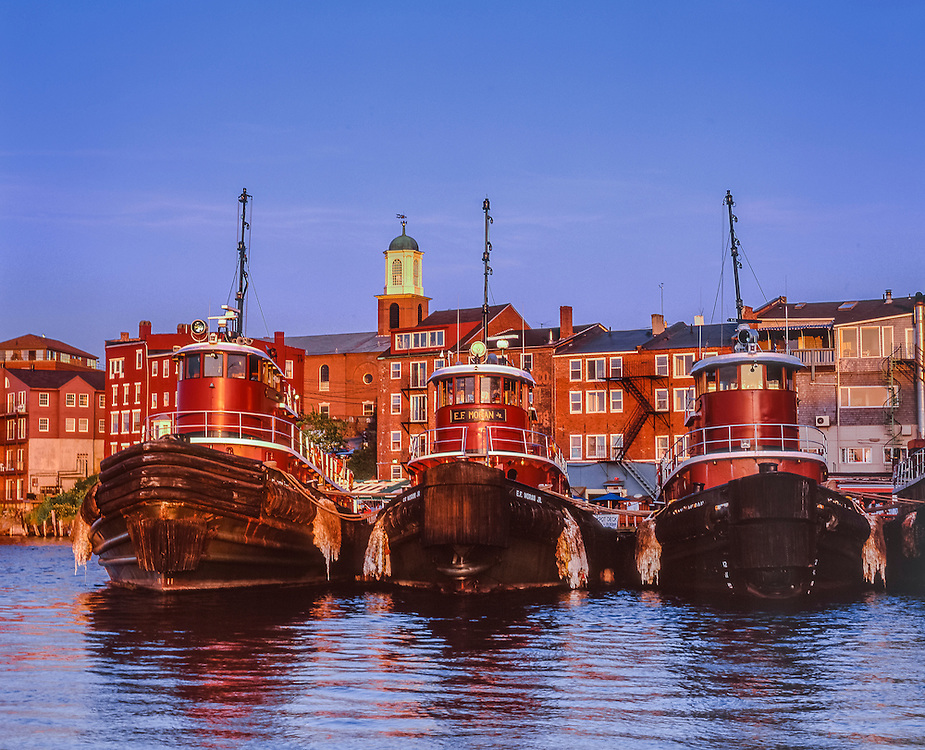 Three tugboats docked, late pm light, Piscataqua River, Portsmouth, NH