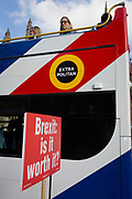 A placard asking passing tourist traffic about the value of a Brexit is attached by pro-Europe anti-Brexit protesters to railings opposite the British Houses of Parliament in Westminster, on 16th October 2018, in London, England.