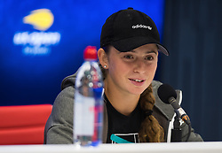 August 30, 2018 - Jelena Ostapenko of Latvia talks to the media after winning her second round match at the 2018 US Open Grand Slam tennis tournament. New York, USA. August 30th 2018. (Credit Image: © AFP7 via ZUMA Wire)