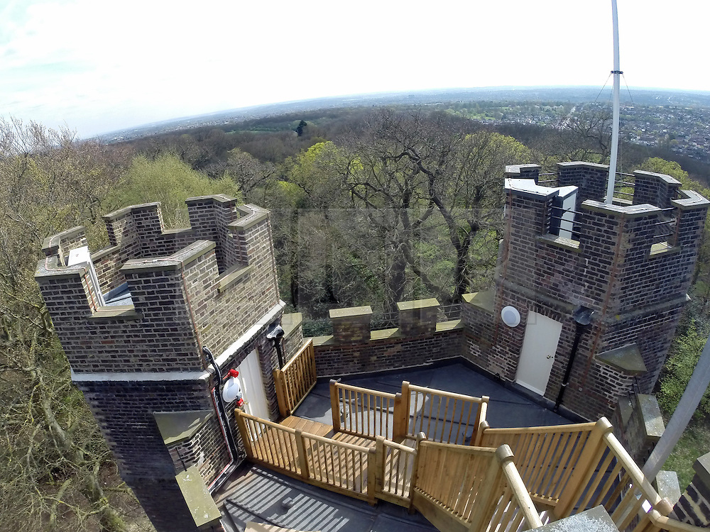 © Licensed to London News Pictures. 14/04/2014. A 18th century castle on a hill in south east London is preparing to reopen as its restoration nears completion. Severndroog Castle in Oxleas Woods on Shooters Hill enjoys stunning views across five counties. The folly has been closed for many years and was in state of disrepair before work started on a restoration project last year. The historic building featured in the BBC series Restoration in 2004. Reopening date yet to be confirmed, more information available fron the Severndroog Castle Building Presevation Trust . Credit : Rob Powell/LNP