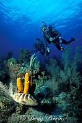 Edmund F. Ball scuba diving at age 86,<br /> on a coral reef on Little Cayman Island ( Caribbean Sea )   <br /> MR 171