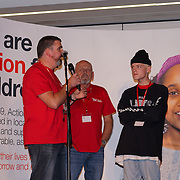 London, UK. 7th October, 2016. Simon,Andy of the NightStop and Jae thankful for the service and support and Presenter Alastair Brown at Byte Night 2016 - Action for Children to tackle youth homelessness in London at Norton Rose Fulbright, 3 More London Riverside, London, UK. Photo by See Li