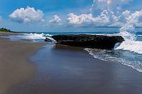 Bali, Badung, Canggu. The Canggu beach looking south towards Kuta.