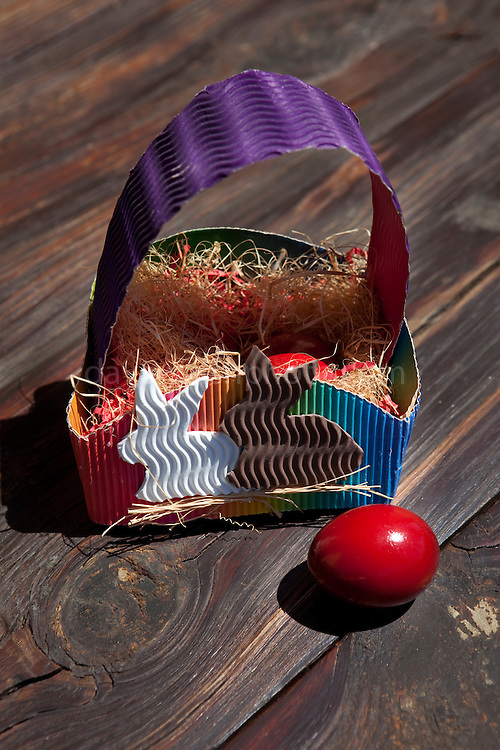 Dyed red Easter eggs in Greece, symbolising the blood of Christ.