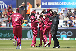 July 1, 2019 - Chester Le Street, County Durham, United Kingdom - West Indies' Fabian Allen celebrates after catching Sri Lanka's Kusal Mendis off his own bowling during the ICC Cricket World Cup 2019 match between Sri Lanka and West Indies at Emirates Riverside, Chester le Street on Monday 1st July 2019. (Credit Image: © Mi News/NurPhoto via ZUMA Press)