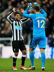 DeAndre Yedlin of Newcastle United celebrates with Martin Dubravka at full time - Mandatory by-line: Matt McNulty/JMP - 11/02/2018 - FOOTBALL - St James Park - Newcastle upon Tyne, England - Newcastle United v Manchester United - Premier League