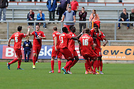 Vadaine Oliver of York city  ® celebrates with his teammates after he scores his teams 3rd goal. Skybet football league two match, Newport county v York city at Rodney Parade in Newport, South Wales on Saturday 5th Sept 2015.  pic by Andrew Orchard, Andrew Orchard sports photography.