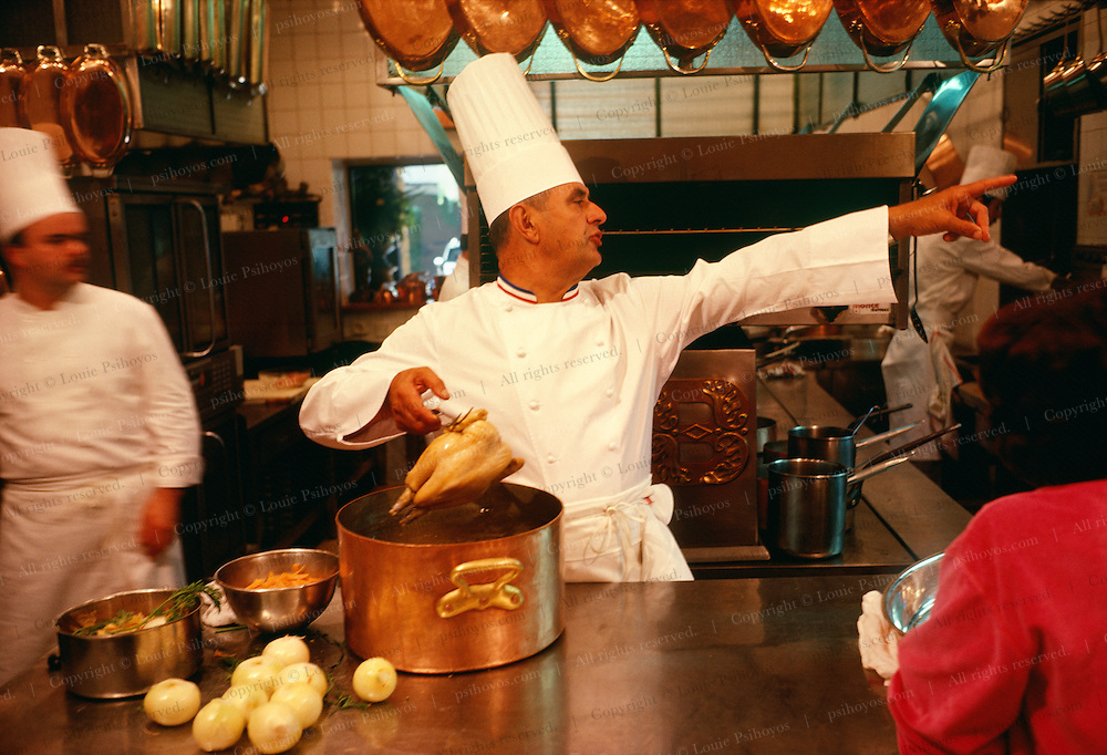 Culinary genius Paul Bocuse, inventor of nouvelle cuisine in his kitchen in Lyon.