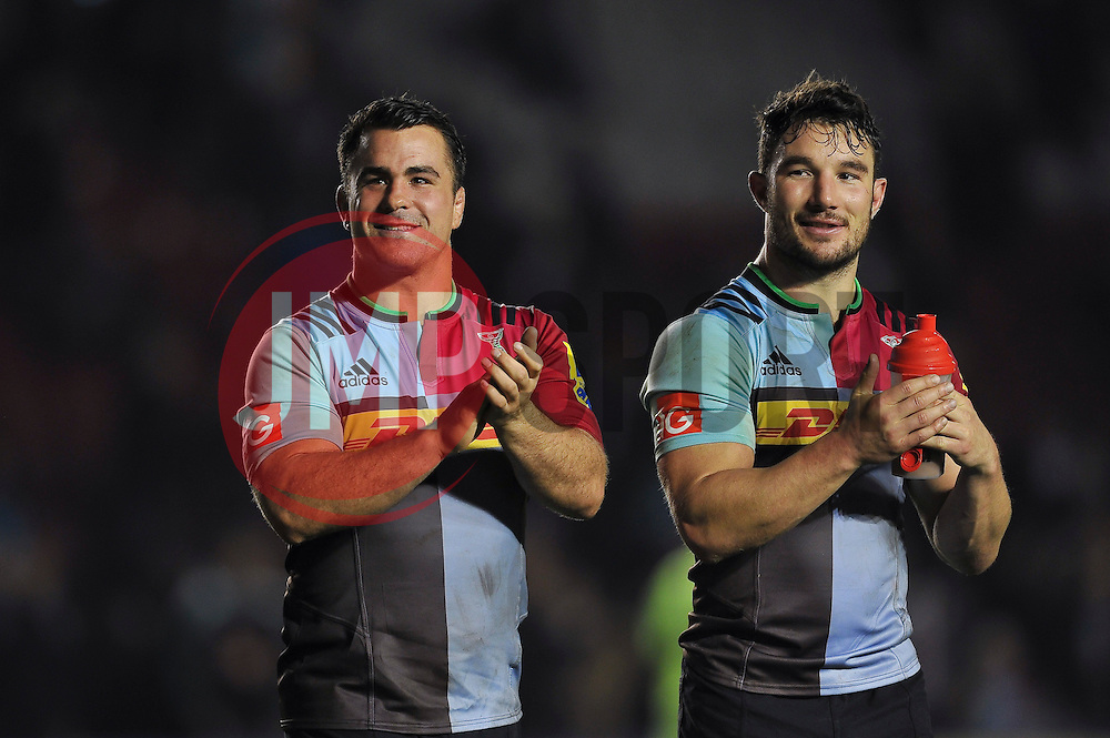 Dave Ward and George Lowe of Harlequins acknowledge the crowd after the match - Mandatory byline: Patrick Khachfe/JMP - 07966 386802 - 06/11/2015 - RUGBY UNION - The Twickenham Stoop - London, England - Harlequins v Sale Sharks - Aviva Premiership.
