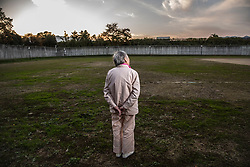F(89) stands on the exercise grounds at Fukushima Prison for women in Fukushima prefecture, Japan. <br /> She is serving her second prison sentence for stealing a pack of strawberry, cold medicine, and a pair of glasses at a supermarket. She was imprisoned for the first time at 84.