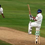 England's Nasser Hussain hooks off the bowling of India's Ajit Agarkar.