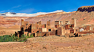 The Glaoui Kasbah's of Tamedaght in the Ounilla valley set surrounded by the hammada (stoney) desert in the foothills of the Altas mountains, Tamedaght, Morroco. .<br /> <br /> Visit our MOROCCO HISTORIC PLAXES PHOTO COLLECTIONS for more   photos  to download or buy as prints https://funkystock.photoshelter.com/gallery-collection/Morocco-Pictures-Photos-and-Images/C0000ds6t1_cvhPo<br /> .<br /> <br /> Visit our ISLAMIC HISTORICAL PLACES PHOTO COLLECTIONS for more photos to download or buy as wall art prints https://funkystock.photoshelter.com/gallery-collection/Islam-Islamic-Historic-Places-Architecture-Pictures-Images-of/C0000n7SGOHt9XWI
