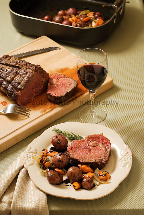 Filet Roast Rib Eye with Potatoes and Wine for Dinner