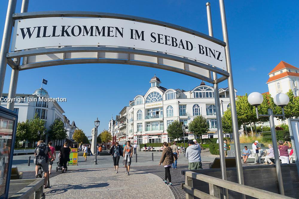 Main street in Binz seaside resort on Rugen Island in Germany