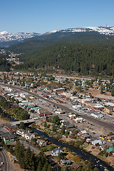 """""""Downtown Truckee Aerial 2"""" - Downtown Truckee photographed from a small amphibious seaplane with the door removed."""