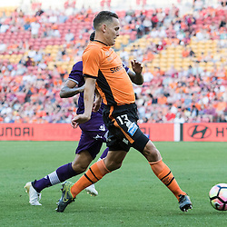 BRISBANE, AUSTRALIA - OCTOBER 30: Jade North of the roar passes the ball during the round 4 Hyundai A-League match between the Brisbane Roar and Perth Glory at Suncorp Stadium on October 30, 2016 in Brisbane, Australia. (Photo by Patrick Kearney/Brisbane Roar)