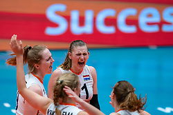 Britte Stuut of Netherlands, Elles Dambrink of Netherlands celebrate during United States - Netherlands, FIVB U20 Women's World Championship on July 15, 2021 in Rotterdam
