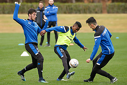 January 8, 2018 - San Roque, SPAIN - Club's Jordi Vanlerberghe, Club's Emmanuel Bonaventure Dennis and Club's Erhan Masovic fight for the ball during day five of the winter training camp of Belgian first division soccer team Club Brugge, in San Roque, Spain, Monday 08 January 2018. BELGA PHOTO BRUNO FAHY (Credit Image: © Bruno Fahy/Belga via ZUMA Press)