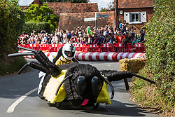 Cookham Dean, UK. 1 September, 2019. A custom-built kart in the form of a spider competes in the Cookham Dean Gravity Grand Prix in aid of the Thames Valley and Chiltern Air Ambulance.