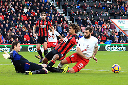 3 December 2017 -  Premier League - Bournemouth v Southampton - Asmir Begovic and Nathan Ake of AFC Bournemouth combine to stop an effort from Charlie Austin of Southampton - Photo: Marc Atkins/Offside