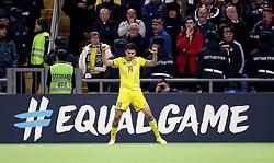 Kazakhstan's Baktiyar Zaynutdinov celebrates scoring his side's third goal of the game during the UEFA Euro 2020 Qualifying, Group I match at the Astana Arena.