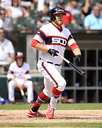 CHICAGO - JULY 28:  AJ Reed #24 of the Chicago White Sox bats against the Minnesota Twins on July 28, 2019 at Guaranteed Rate Field in Chicago, Illinois.  (Photo by Ron Vesely)  Subject:   AJ Reed