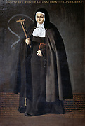 Mother Jeronima de la Fuente', Franciscan nun, about to leave Spain for the Philippines where she founded a convent in Manila, 1620. Oil on canvas. Portrait by Diego Velasquez (1599-1660) Spanish painter. Missionary Crucifix Bible