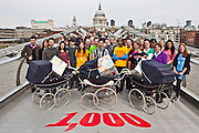 A two week, 300 mile pram journey that travelled from Manchester to London, ends on the Millennium Bridge, London. Oxfam's Pramble project was to raise awareness of the 1,000 women in poor countries  who die every day in pregnancy and childbirth, and call for more midwives and better health provision.