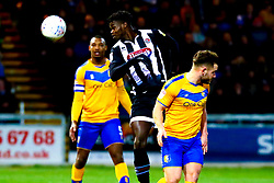 Ahkeem Rose of Grimsby Town gets a head to the ball - Mandatory by-line: Ryan Crockett/JMP - 04/01/2020 - FOOTBALL - One Call Stadium - Mansfield, England - Mansfield Town v Grimsby Town - Sky Bet League Two