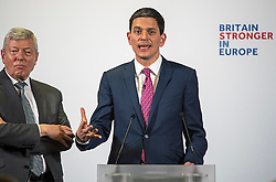 """© Licensed to London News Pictures. 12/04/2016. London, UK. Labour MP ALAN JOHNSON (left) takes questions after Former Labour MP and President of the International Rescue Committee DAVID MILIBAND (Right) delivers a pro EU speech at Church House in Westminster titled """"Britain and Europe: Strength through Alliances"""". Photo credit: Ben Cawthra/LNP"""
