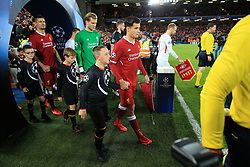 6th December 2017 - UEFA Champions League - Group E - Liverpool v Spartak Moscow - Philippe Coutinho of Liverpool leads his team out onto the pitch as captain - Photo: Simon Stacpoole / Offside.