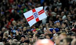 An England fan holds up a flag  - Mandatory by-line: Dougie Allward/JMP - 29/03/2016 - FOOTBALL - Wembley Stadium - London, United Kingdom - England v Netherlands - International Friendly