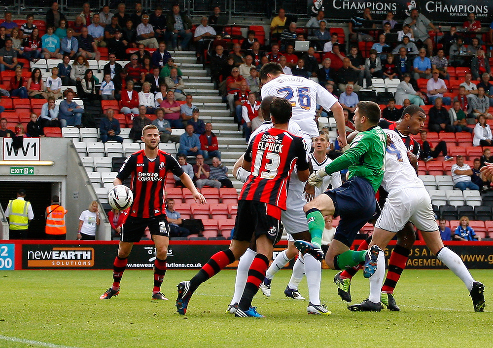 Preston North End's Bailey Wright heads at the goal..Football - npower Football League Division One - Bournemouth v Preston North End - Saturday 25th August 2012 - Seward Stadium - Bournemouth..