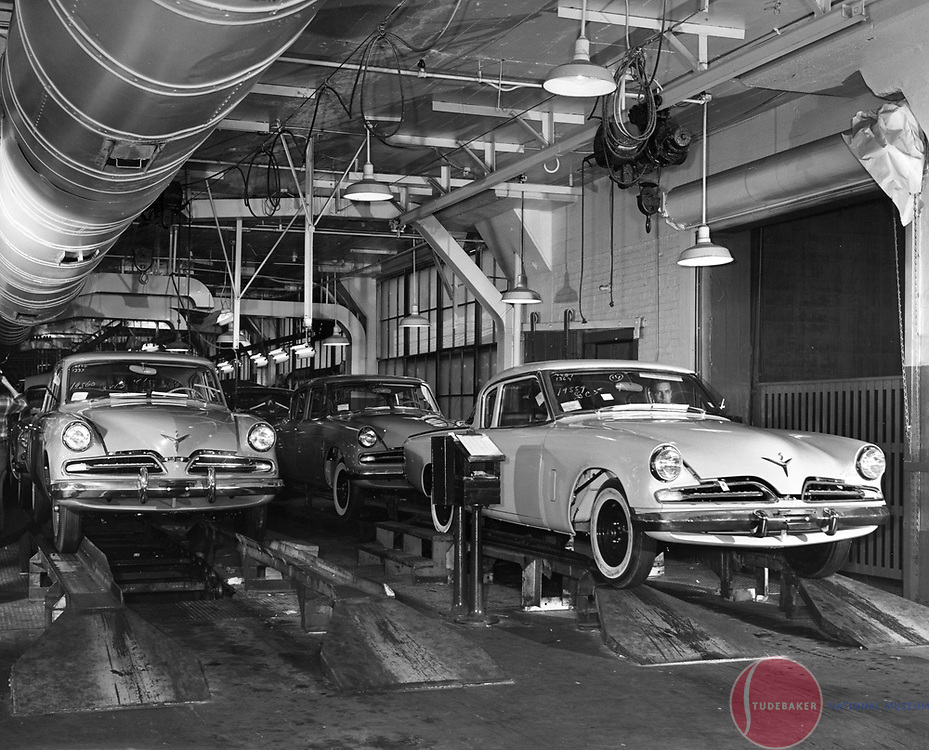 The final assembly line at Studebaker's South Bend plant, 1953.