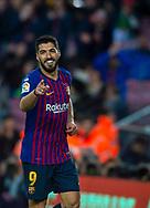 Luis Suarez celebrates a goal scored during the Spanish league football match of 'La Liga'  FC BARCELONA against RAYO VALLECANO at Camp Nou Stadium of Barcelona on March 9,2019