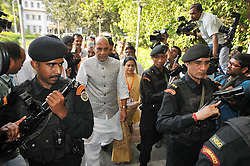 April 14, 2017 - Kolkata, West Bengal, India - Mr. Rajnath Singh Indian Union Minister of Home Affairs and Indian ruling political party Bharatiya Janata Party senior leader  along State BJP President Dilip Ghosh join her Party Workers Internal Meeting for new plan coming Bengal Panchayat Election on April 14,2017 in Kolkata,India. (Credit Image: © Debajyoti Chakraborty/NurPhoto via ZUMA Press)
