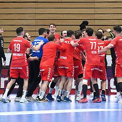 Die Eulen feiern den Sieg beim Spiel in der Handball Bundesliga, Die Eulen Ludwigshafen - TSV GWD Minden.<br /> <br /> Foto © PIX-Sportfotos *** Foto ist honorarpflichtig! *** Auf Anfrage in hoeherer Qualitaet/Aufloesung. Belegexemplar erbeten. Veroeffentlichung ausschliesslich fuer journalistisch-publizistische Zwecke. For editorial use only.