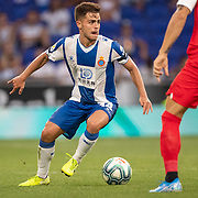 BARCELONA, SPAIN - August 18:  Oscar Melendo #14 of Espanyol in action during the Espanyol V  Sevilla FC, La Liga regular season match at RCDE Stadium on August 18th 2019 in Barcelona, Spain. (Photo by Tim Clayton/Corbis via Getty Images)