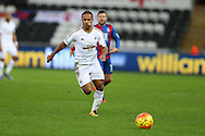 Wayne Routledge of Swansea city  in action.Barclays Premier league match, Swansea city v Crystal Palace at the Liberty Stadium in Swansea, South Wales on Saturday 6th February 2016.<br /> pic by Andrew Orchard, Andrew Orchard sports photography.