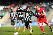 Plymouth Argyle's Graham Carey and York City's Luke Hendrie during the Sky Bet League 2 match between Plymouth Argyle and York City at Home Park, Plymouth, England on 28 March 2016. Photo by Graham Hunt.