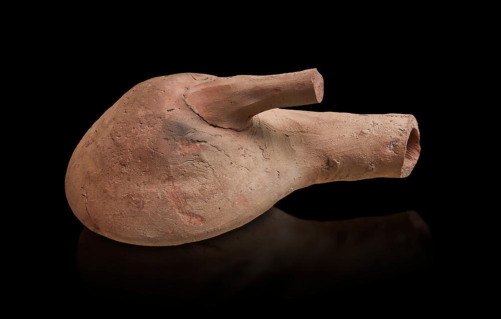 Hittite terracotta flask from the Hittite capital Hattusa, Hittite New Kingdom 1650-1450 BC, Bogazkale archaeological Museum, Turkey. Black  background
