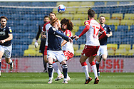 Millwall Midfield Ryan Woods(19)  and Bristol City Midfielder Han-Noah Massengo (42)  battles for possession during the EFL Sky Bet Championship match between Millwall and Bristol City at The Den, London, England on 1 May 2021.
