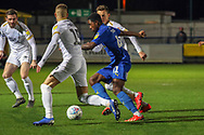 AFC Wimbledon attacker Michael Folivi (41) dribbling into box during the EFL Sky Bet League 1 match between AFC Wimbledon and Peterborough United at the Cherry Red Records Stadium, Kingston, England on 12 March 2019.