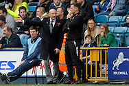 Millwall Manager Ian Holloway in a discussion with Millwall Assistant Manager Mick Harford. Skybet football league championship match , Millwall v Cardiff city at the Den in Millwall, London on Saturday 25th October 2014.<br /> pic by John Patrick Fletcher, Andrew Orchard sports photography.