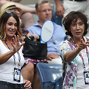 Olympic gymnast Nadia Comaneci, (left), after watching Simona Halep, Romania, defeat Victoria Azarenka, Belarus, in the Women's Singles Quarterfinals match during the US Open Tennis Tournament, Flushing, New York, USA. 9th September 2015. Photo Tim Clayton