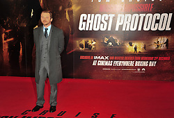 © Licensed to London News Pictures. 13/12/2011. London, England.Simon Pegg attends the UK premiere of Mission Impossible - Ghost Protocol at the IMAX in London .  Photo credit : ALAN ROXBOROUGH/LNP